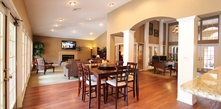 Hang out in the clubhouse at Sunset Valley Austin apartments