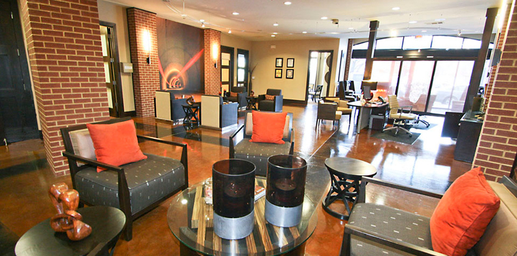 Stylish lobby at Dallas apartment community