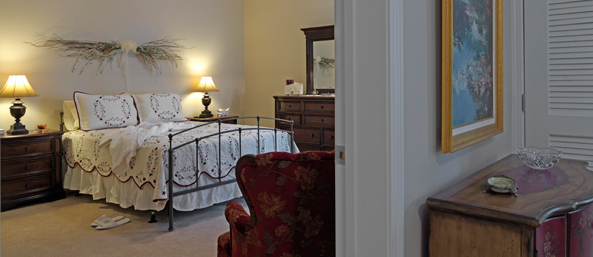 Bedroom at a bedford senior living community