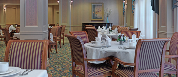 Dining room at a bedford senior living