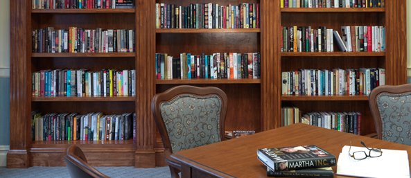 Library at a senior living community in bedford