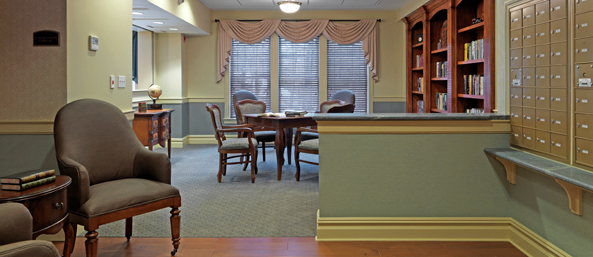 Library at Bentley Commons of Bedford Senior Living