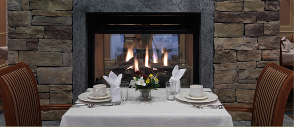 Senior living in bedford nh has fireplace dining