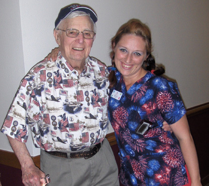 Staff member with a resident at the dalles senior living