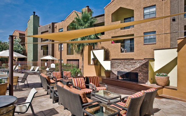 Outdoor fireplace at our luxury Phoenix apartments