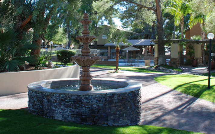 Courtyard fountain at apartments in Tucson