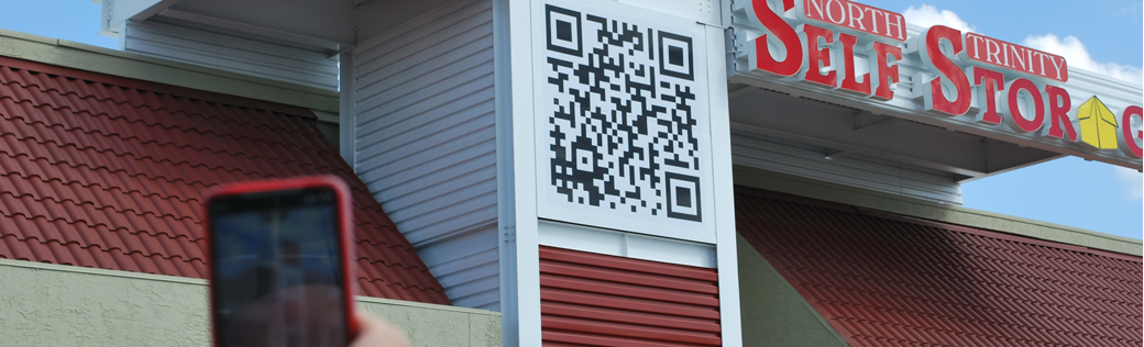 Building exterior qr code self storage trinity