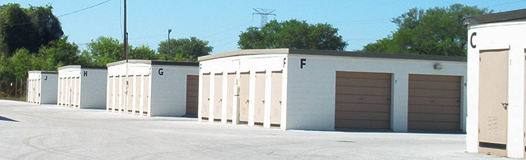 Rows of outdoor storage units in Clearwater