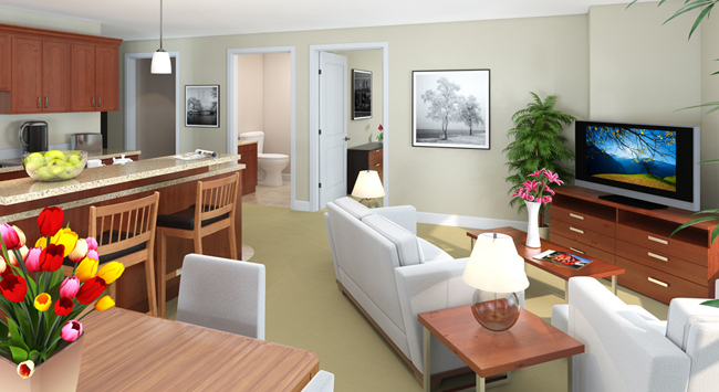Interior rendering of our senior living in Rochester, MN