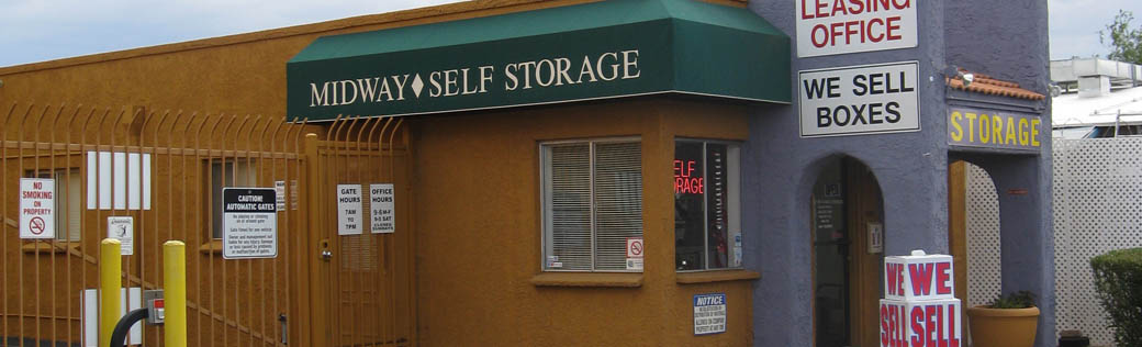 Exterior view of self storage units for rent in Tucson.
