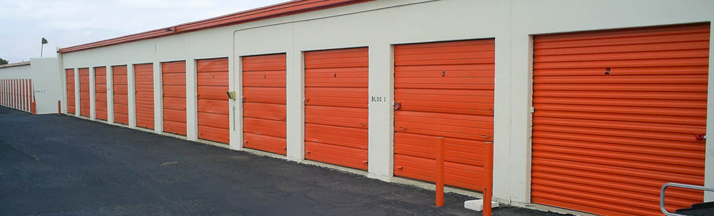 View of large outdoor storage units for rent in Tucson