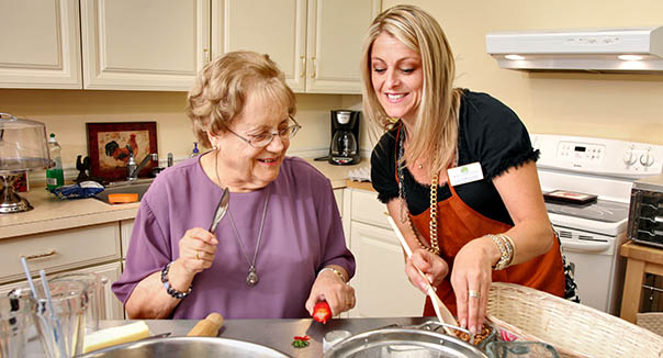 Resident cooking at chardon senior living