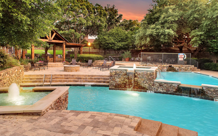 Amenities dusk pool fire pit spa