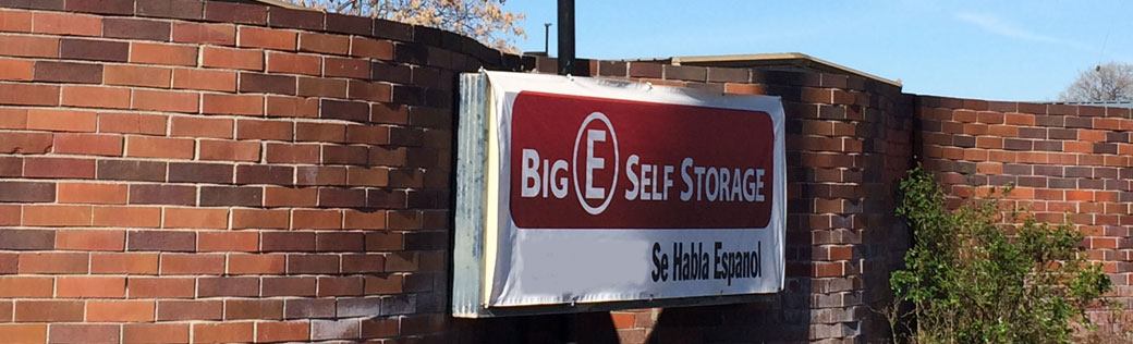 Entrance sign at stockton self storage